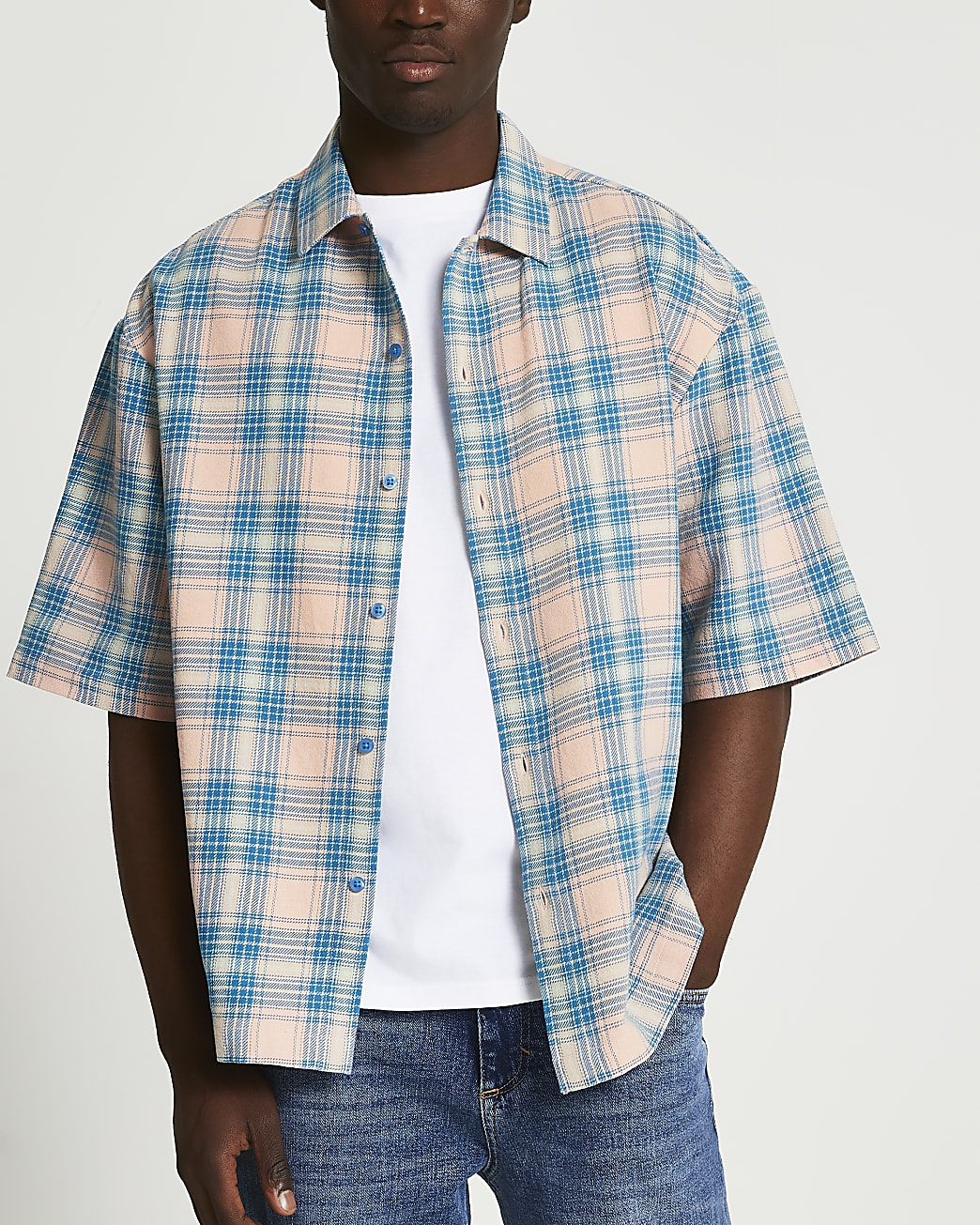 Pink check boxy fit short sleeve shirt