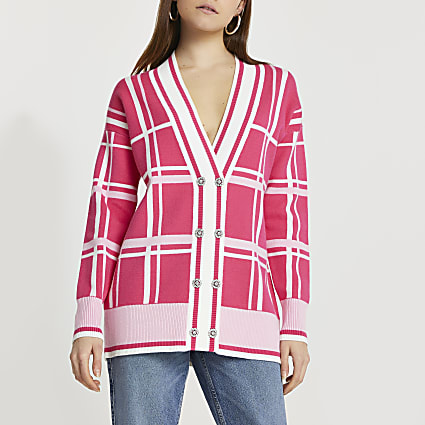 Pink check cardigan