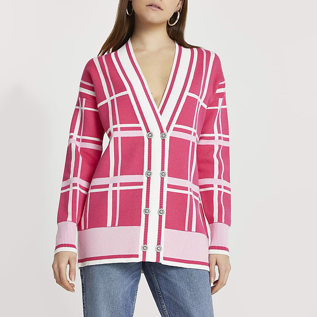 Pink check cardigan