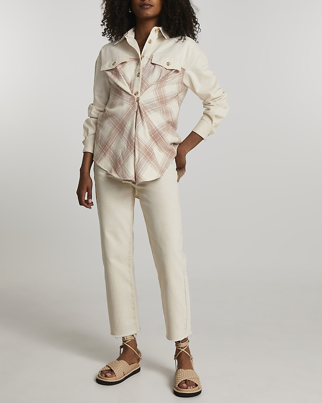 Pink check cinched waist shirt