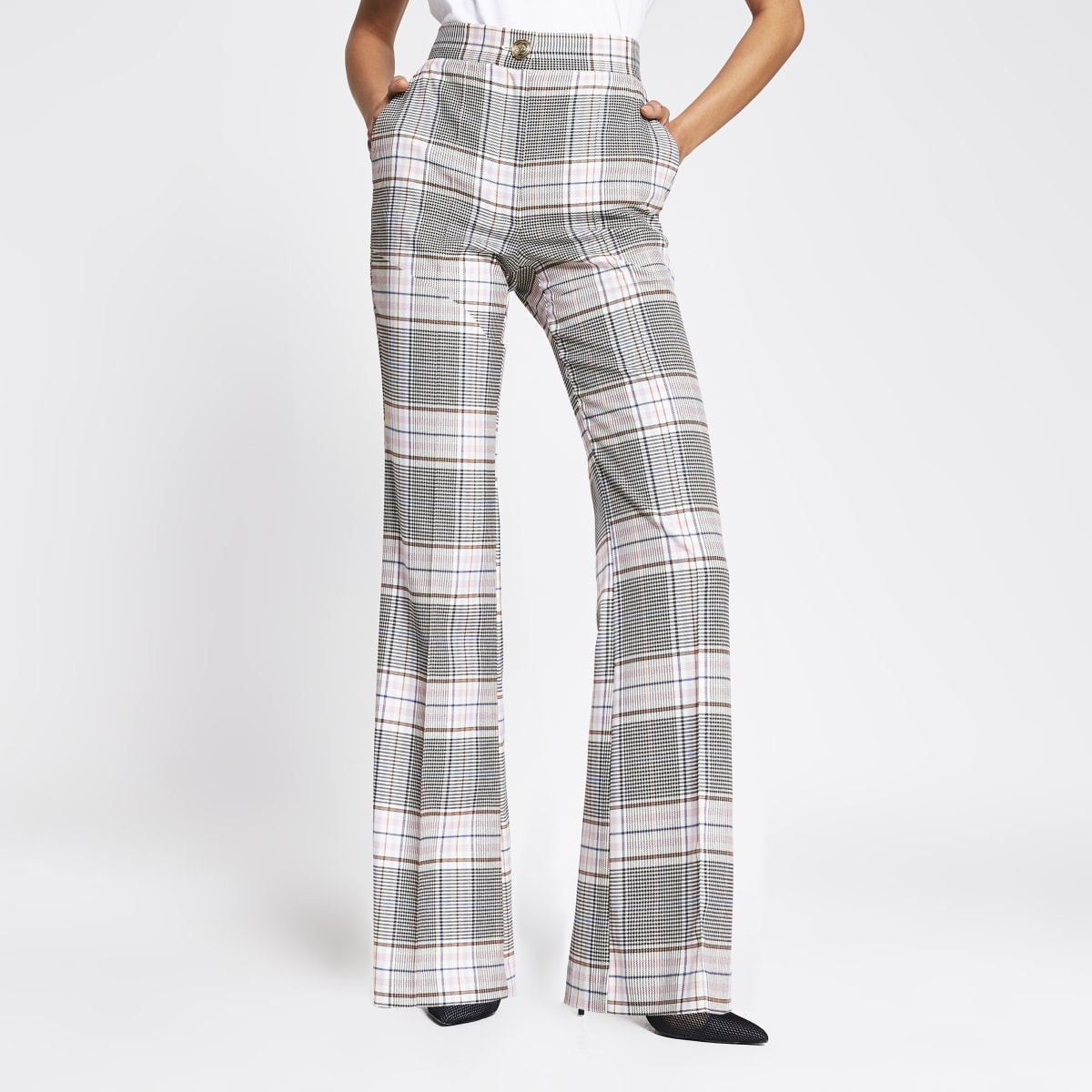 Pink check flare trousers