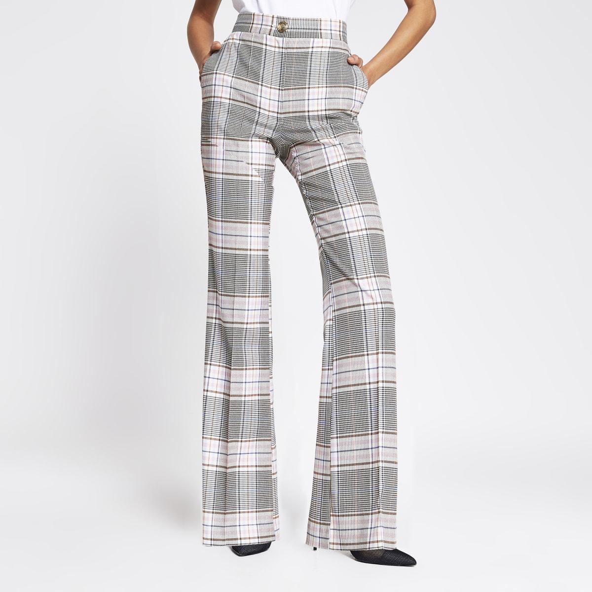 Pantalon évasé à carreaux rose