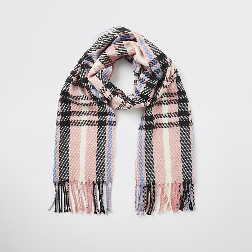 Pink check knitted scarf