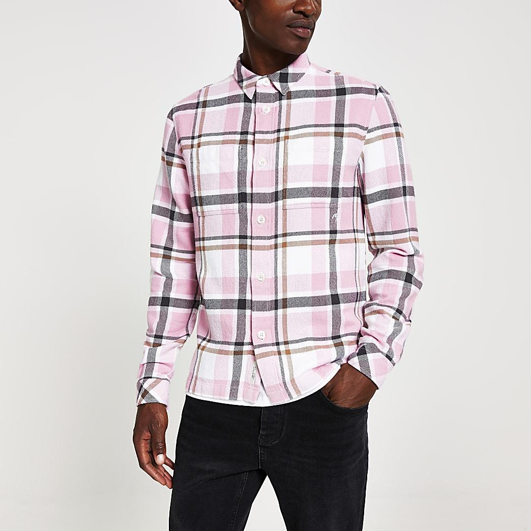 Pink check long sleeve regular fit overshirt