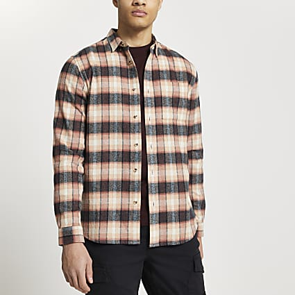 Pink check long sleeve slim fit shirt