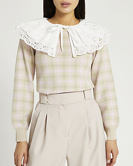 Pink check oversized collar jumper