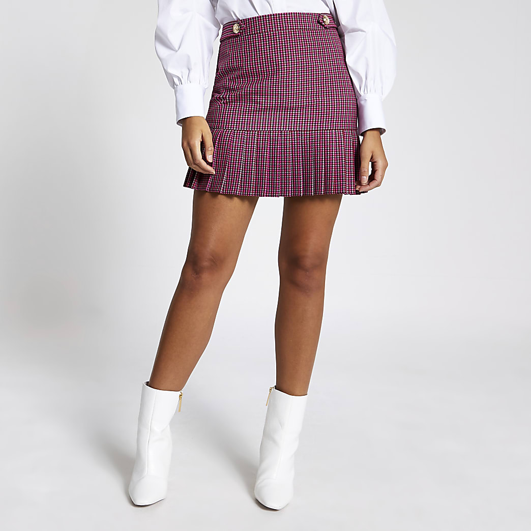 Pink check pleated peplum mini skirt