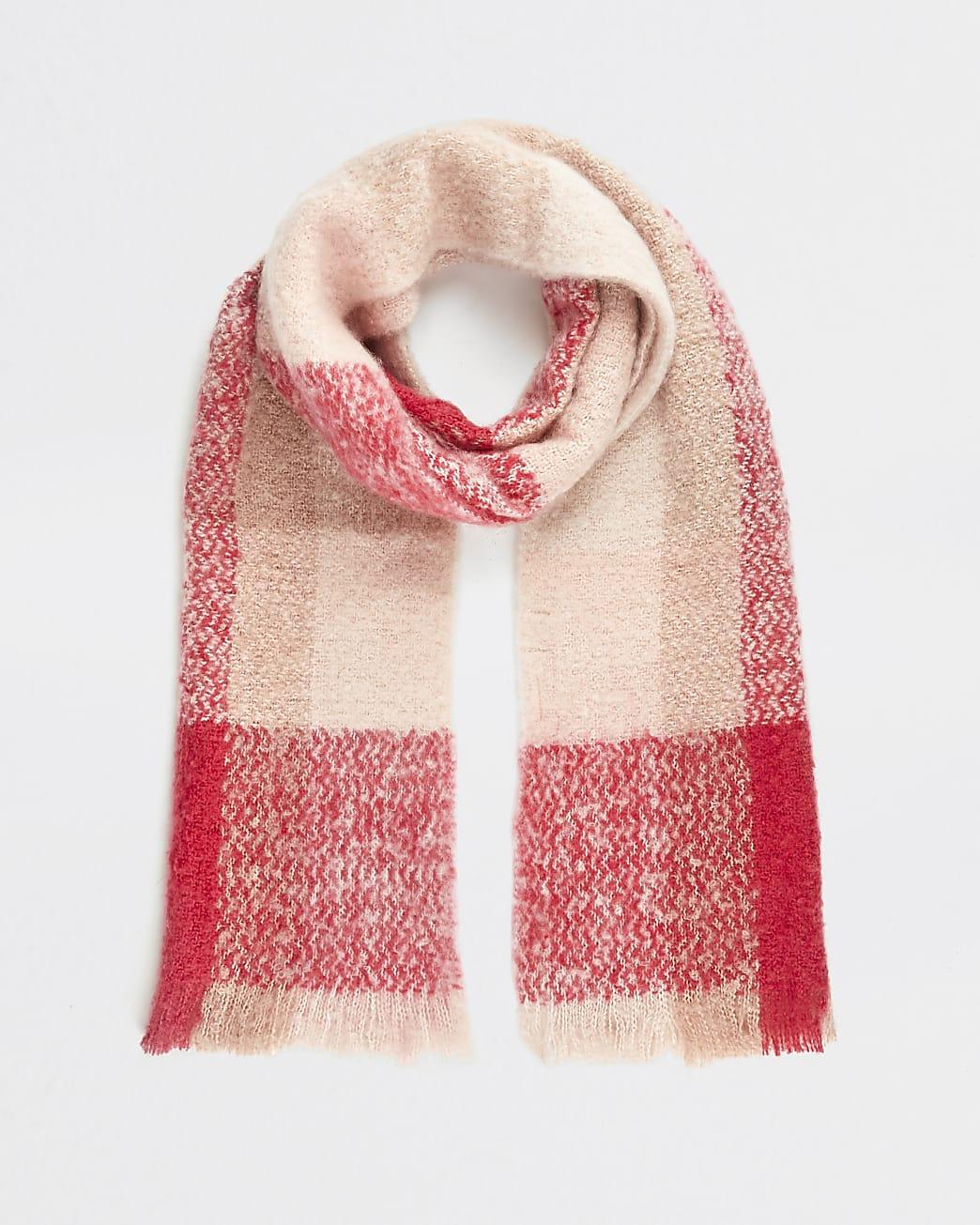 Pink check print blanket scarf