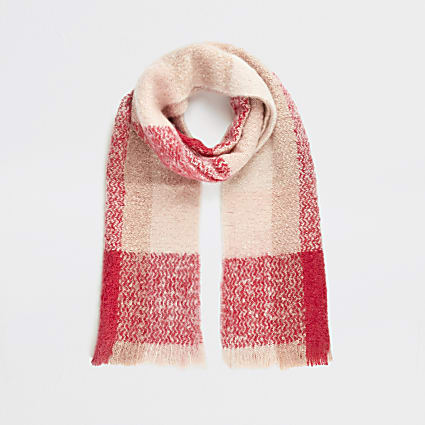 Pink check print blanket scarf