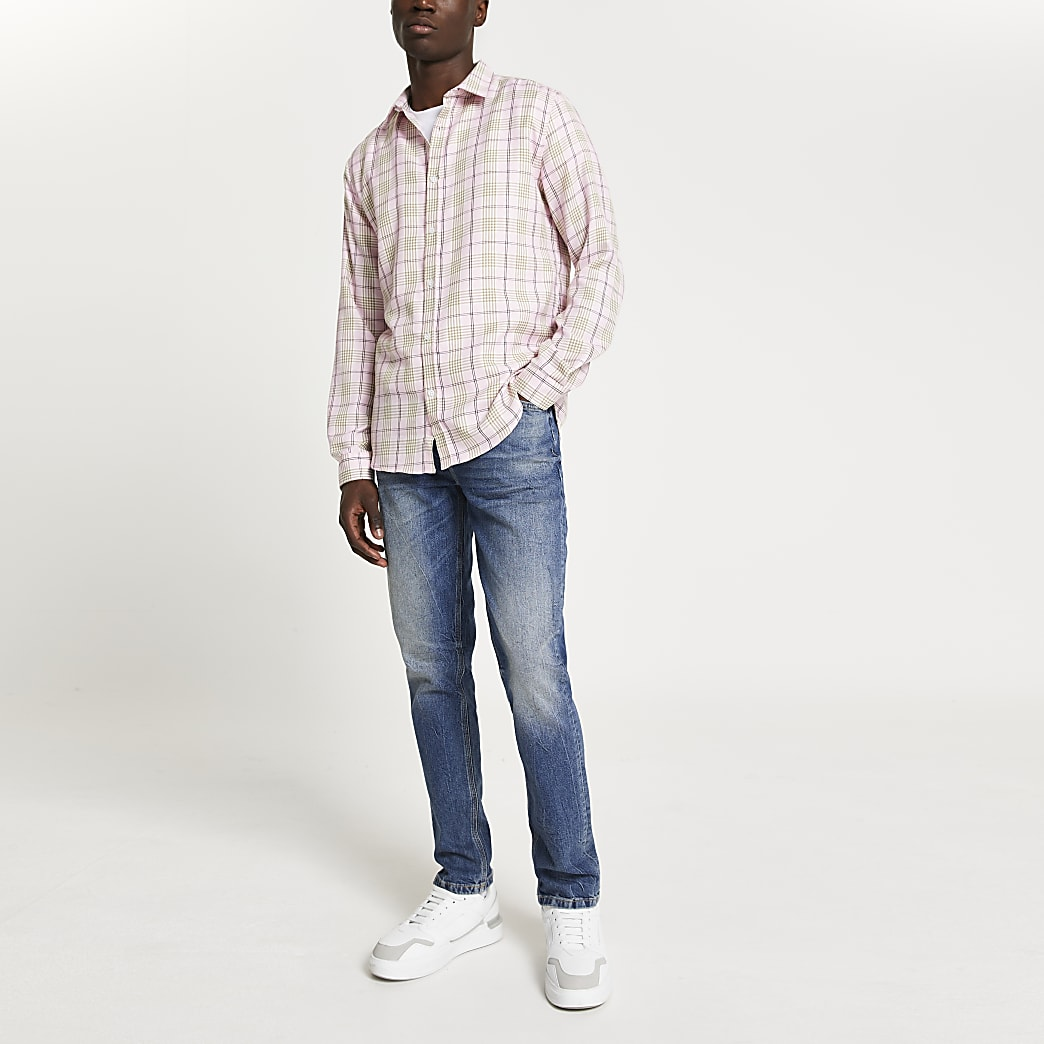 Pink check print long sleeve shirt