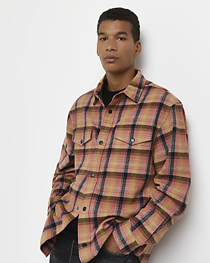 Pink check print oversized shirt