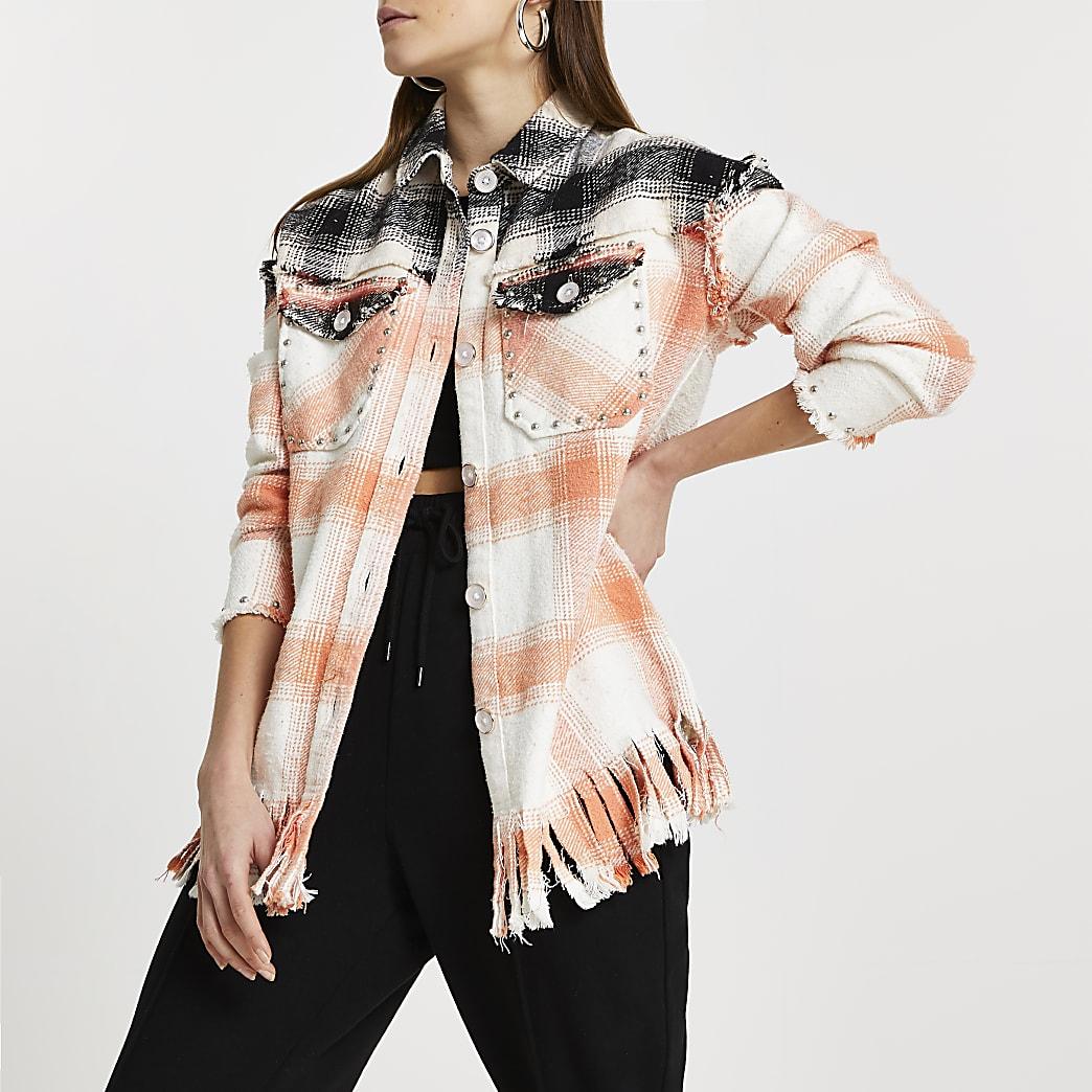 Pink check print studded oversized shirt