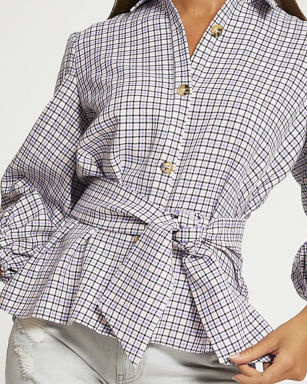 Pink check print tie waisted shirt