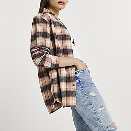 Pink check print washed long sleeve shirt