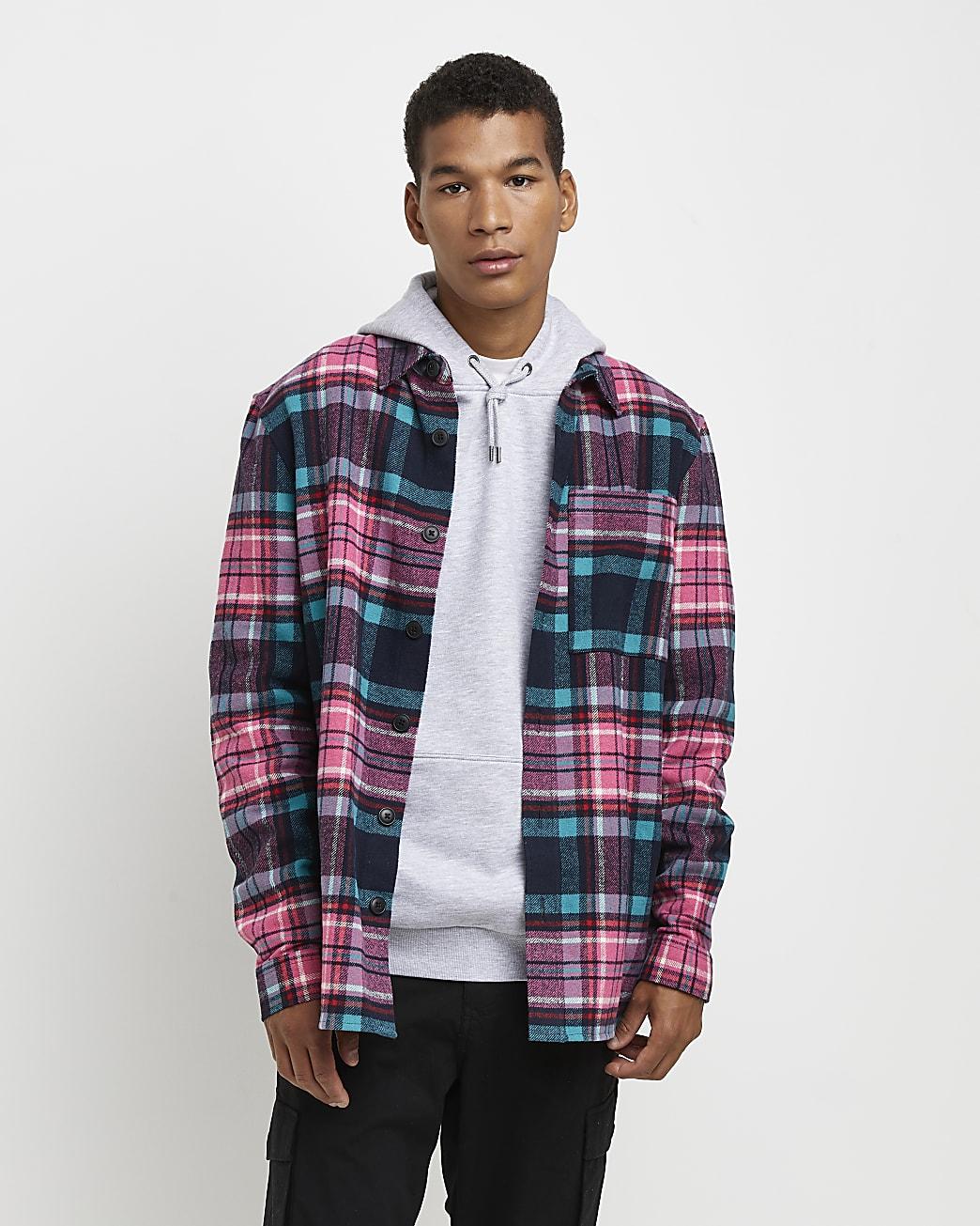 Pink check regular fit long sleeve shirt