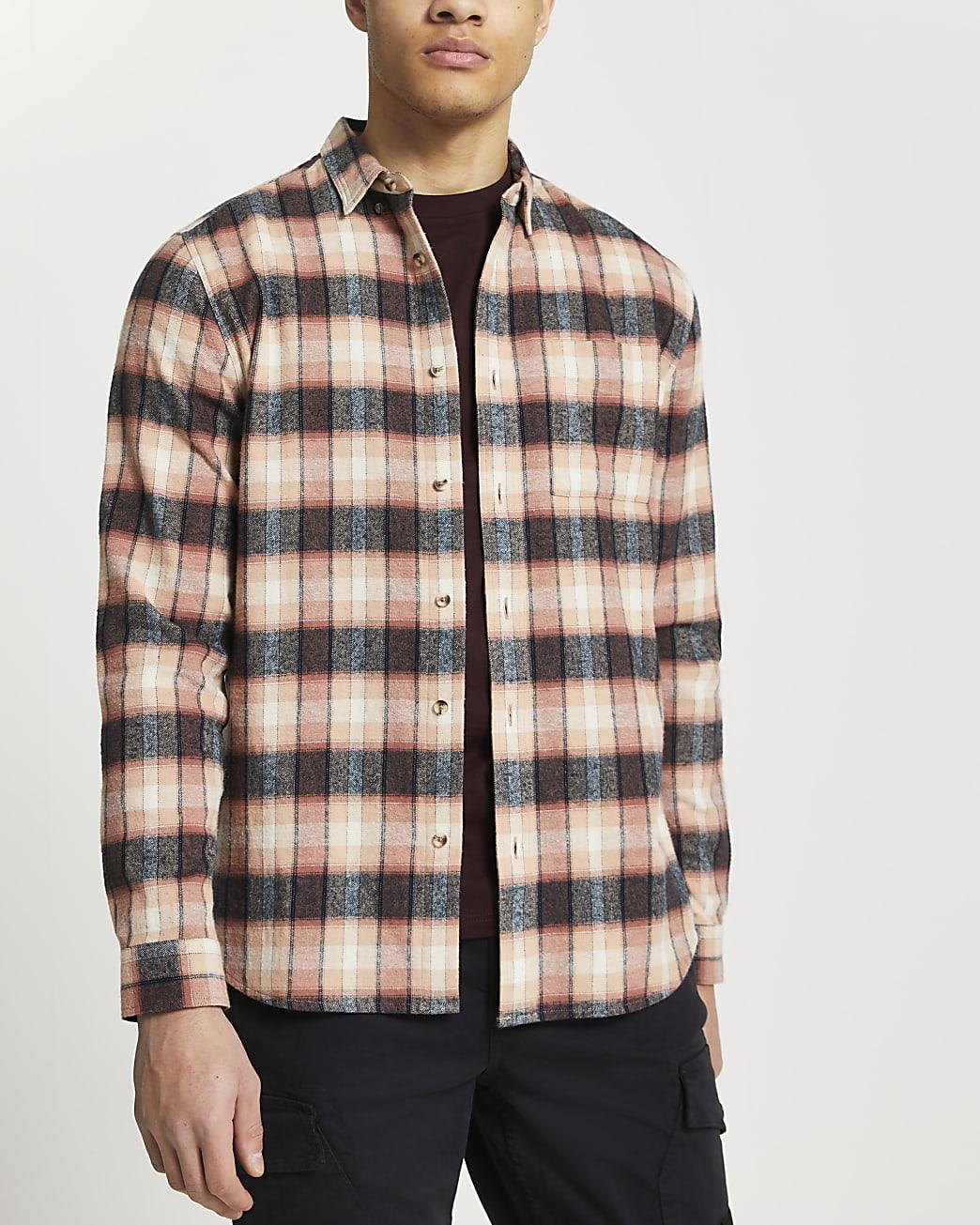 Pink check slim fit long sleeve shirt