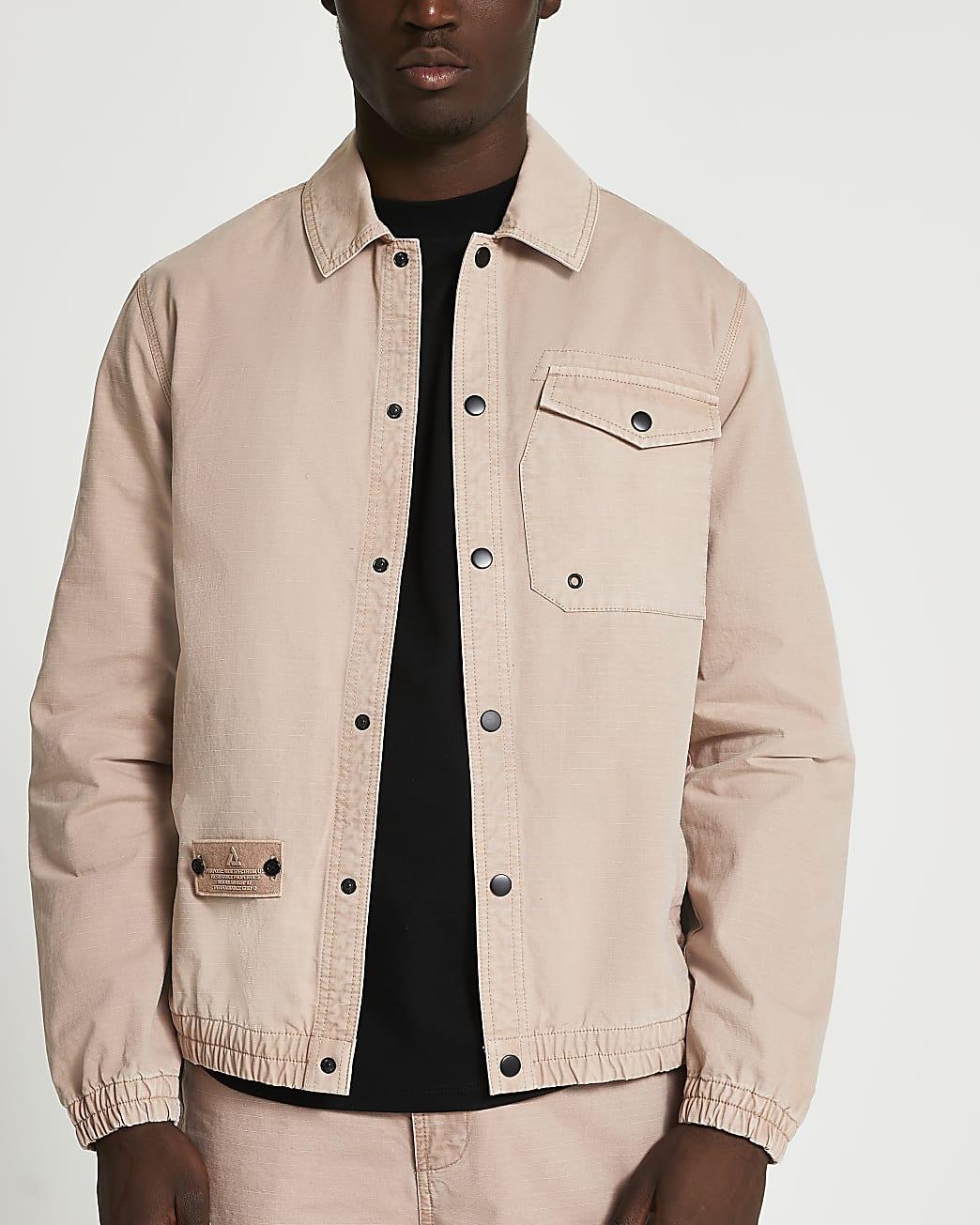 Pink chest pocket long sleeve shacket