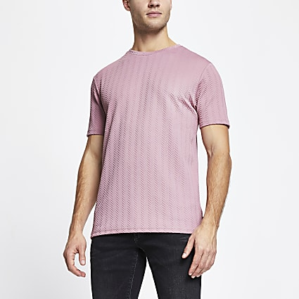 Pink chevron detail slim fit t-shirt