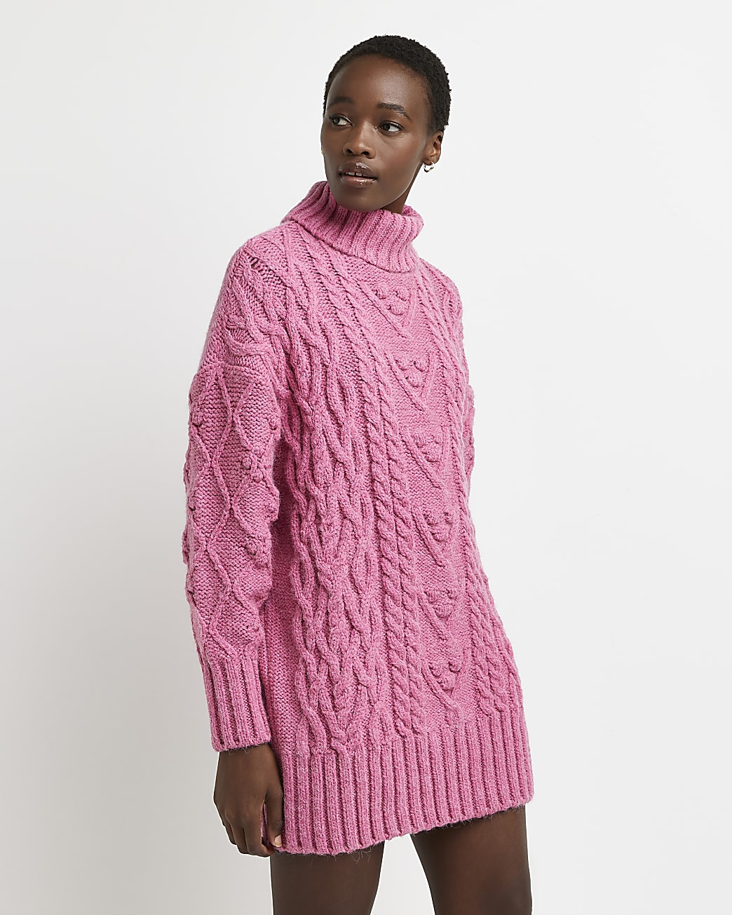 Pink chunky cable knit dress