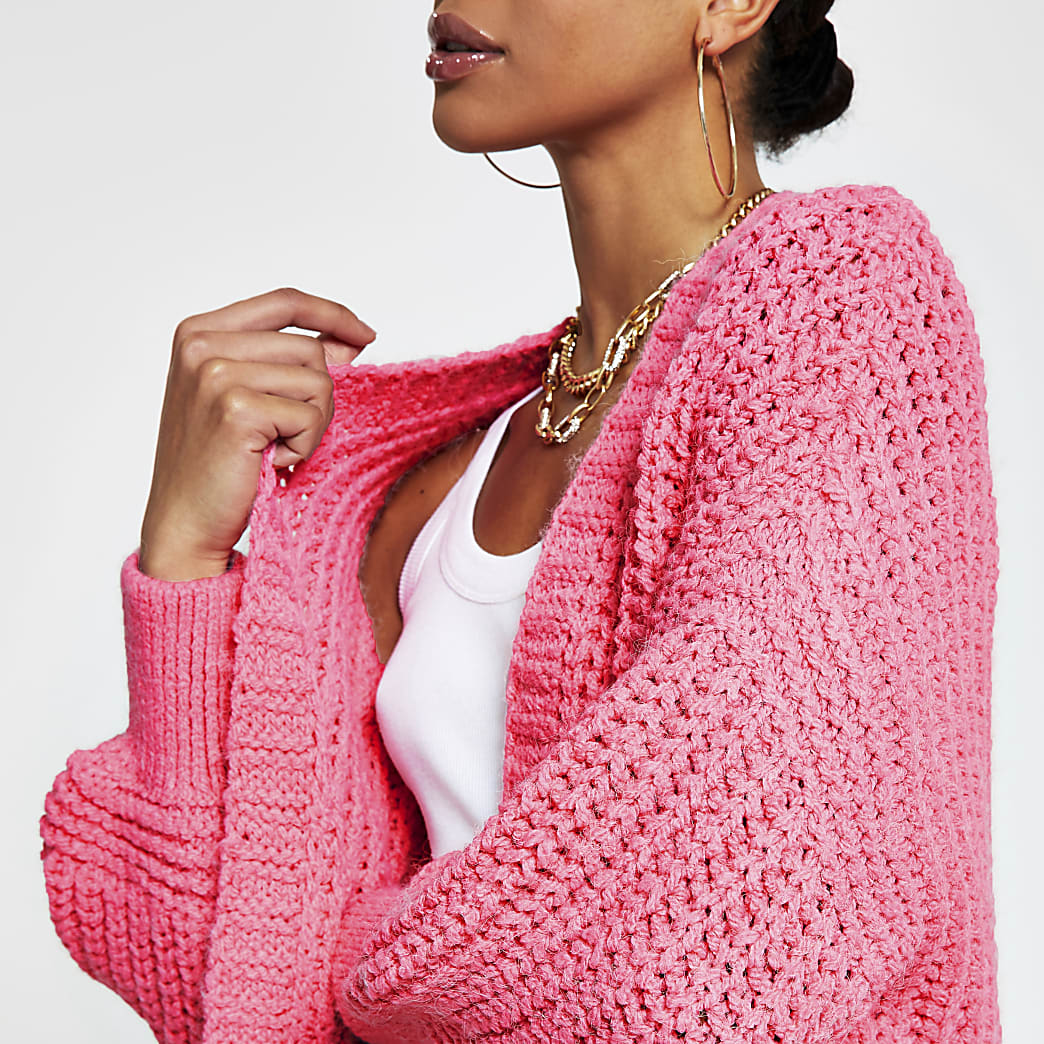 Pink chunky knit ribbed cardigan