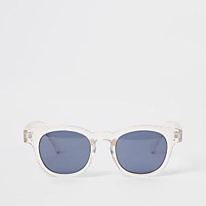 Retro zonnebril met roze transparant montuur