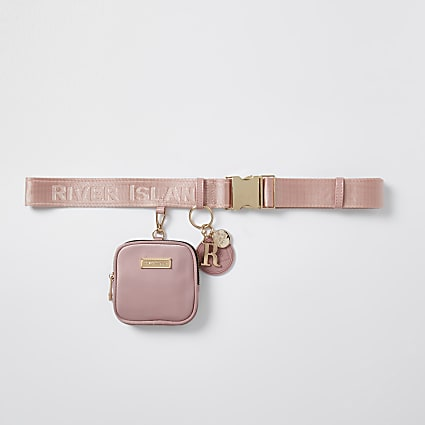 Pink clip on purse belt