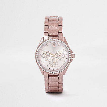 Pink coated round face watch