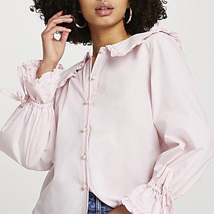 Pink collar frill shirt