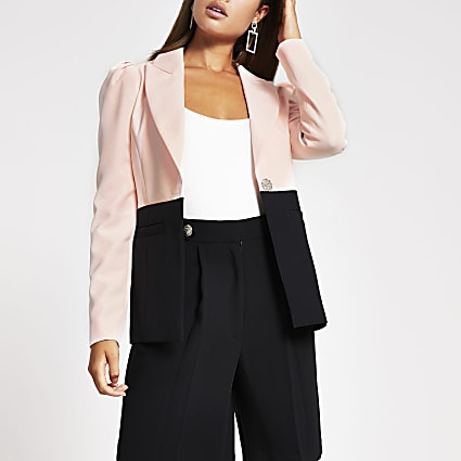 Pink colour block blazer