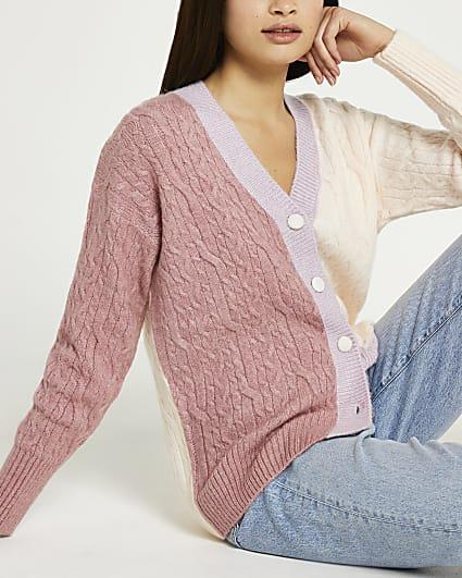 Pink colour block cardigan