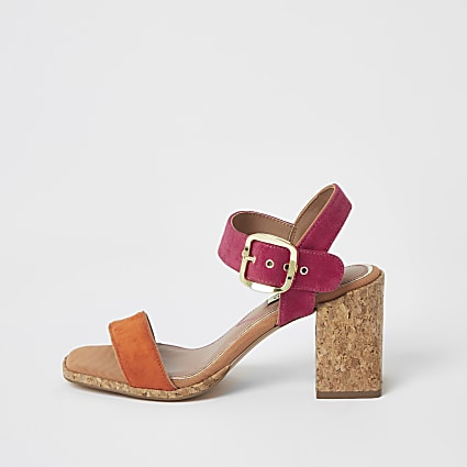 Pink colour block cork heel sandals