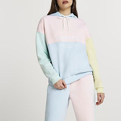 Pink colour block hoodie