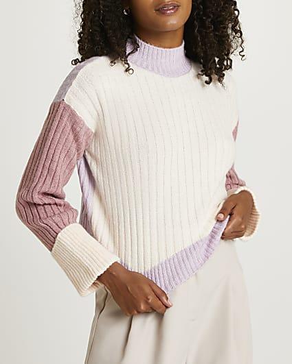 Pink colour block jumper