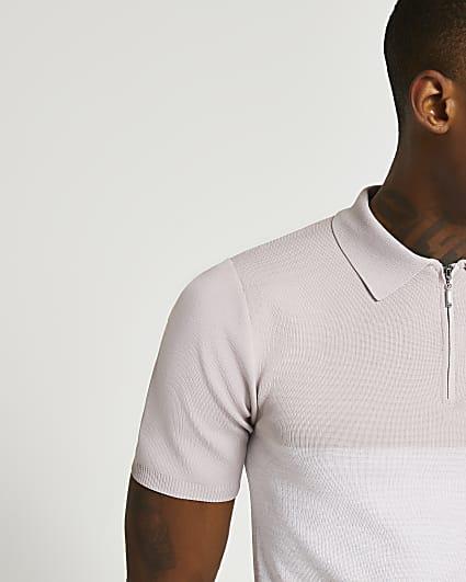 Pink colour block short sleeve polo shirt