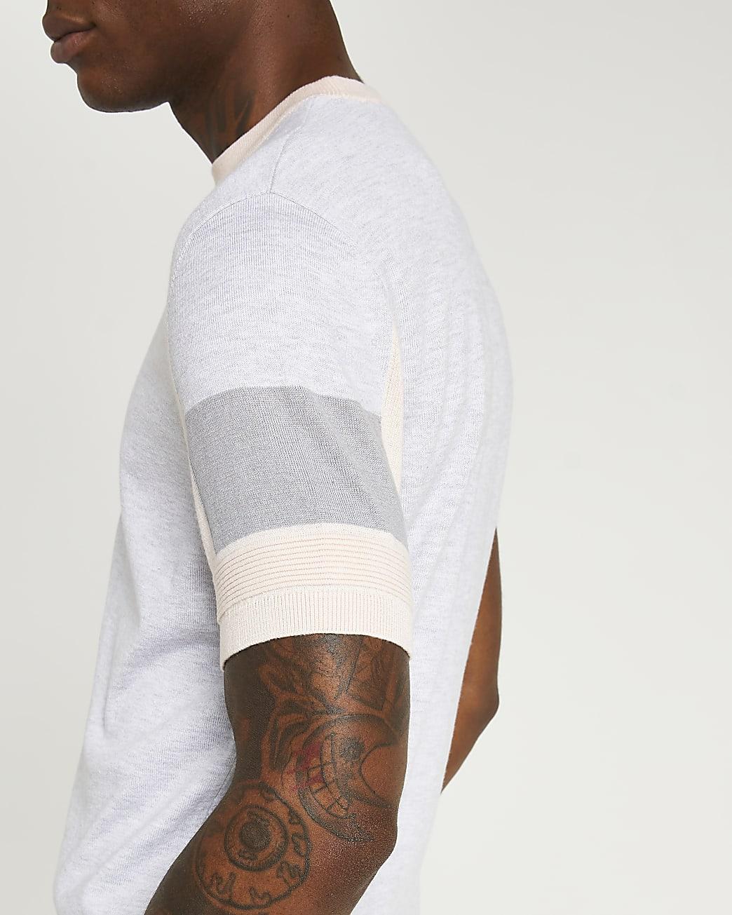 Pink colour block slim fit t-shirt