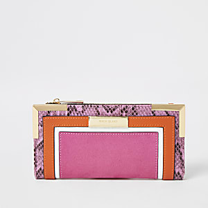 Pink colour blocked fold out purse