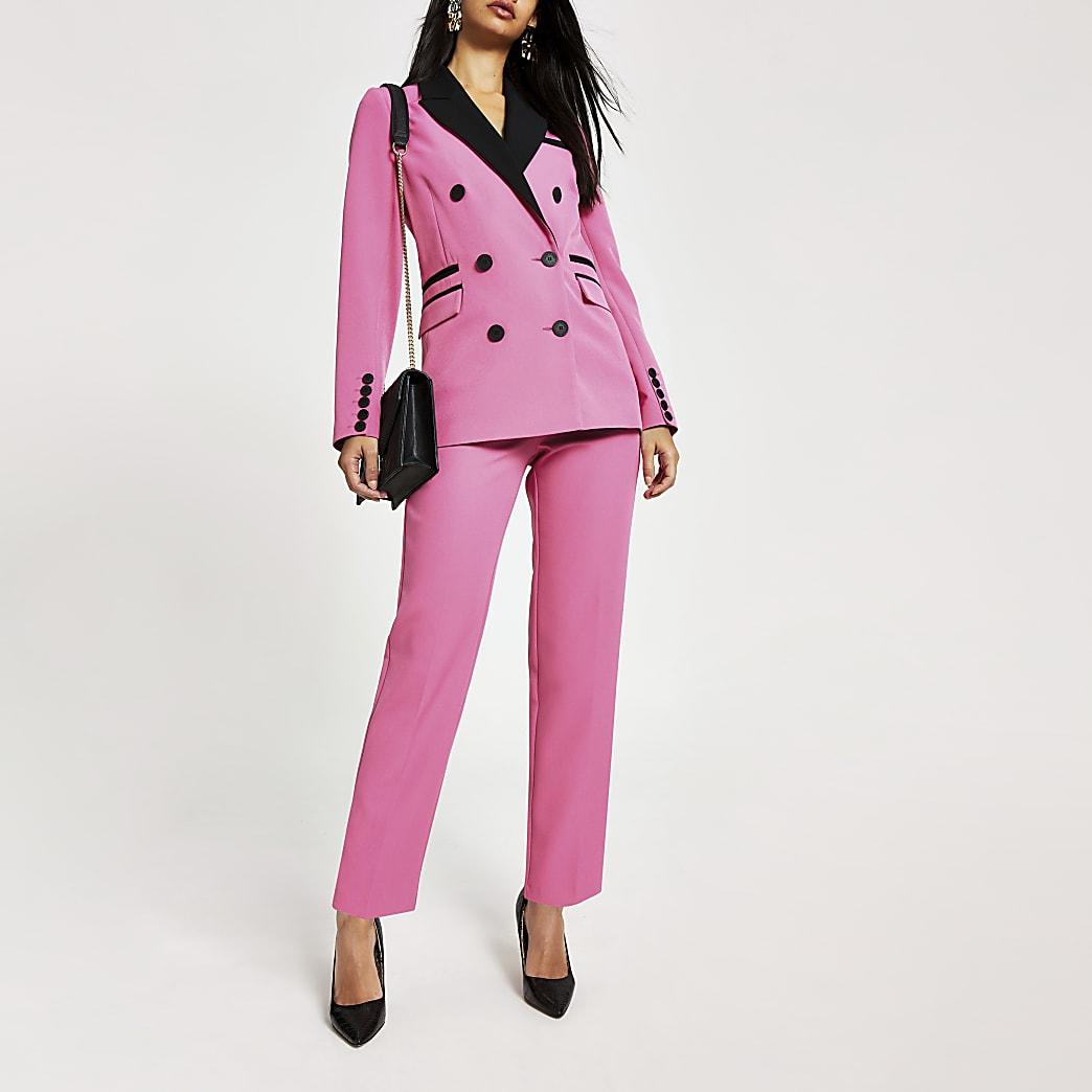 Roze smaltoelopende broek met kleurvlakken