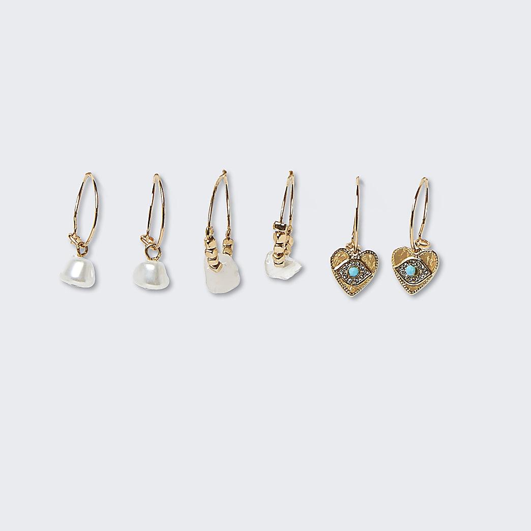 Pink colour heart drop hoop earrings 3 pack