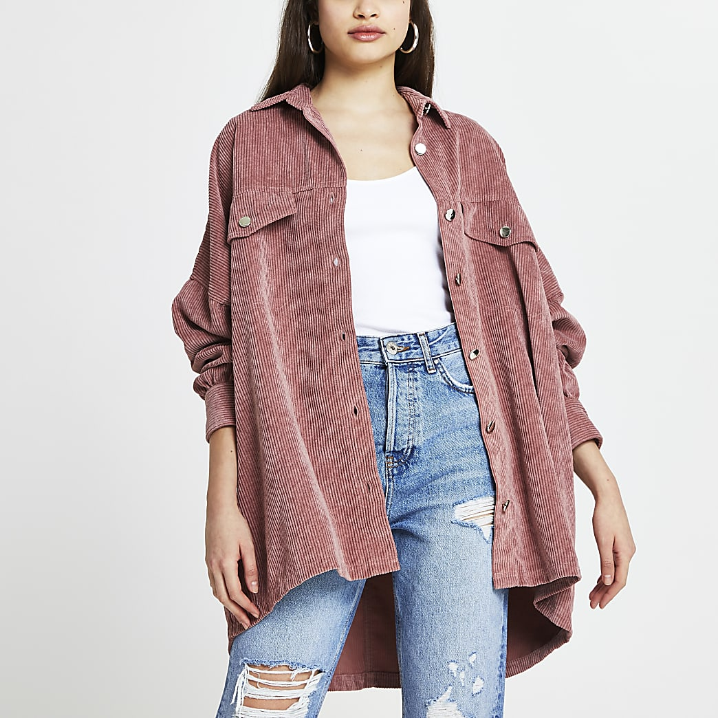 Pink cord batwing long sleeve shacket