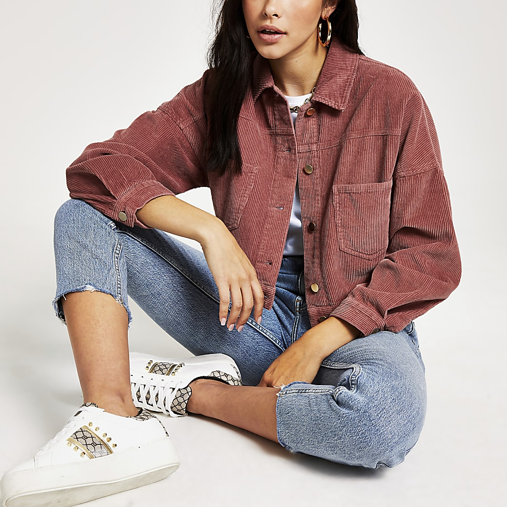 Pink corduroy button back cropped jacket