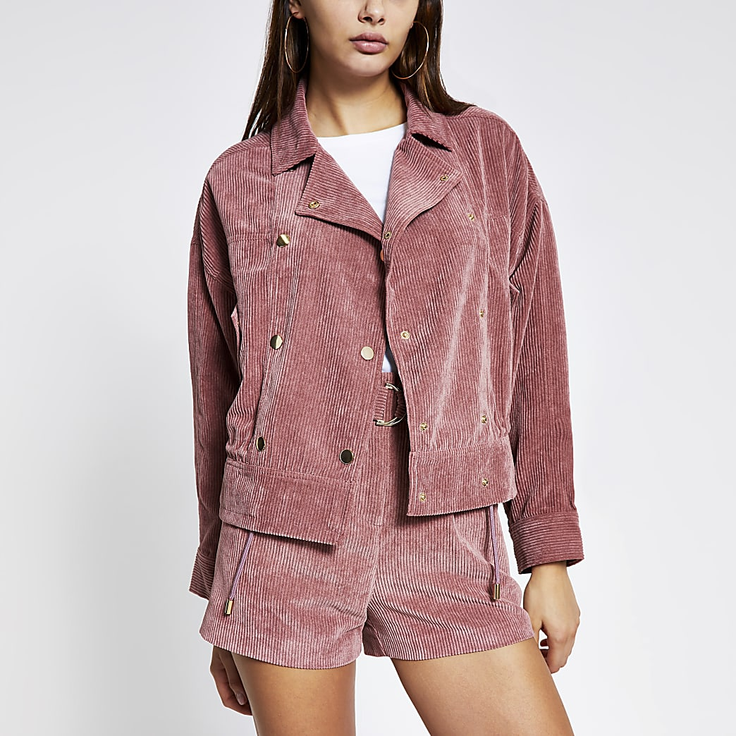 Pink corduroy button front oversized jacket