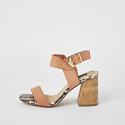 Pink cork block heel wide fit sandals