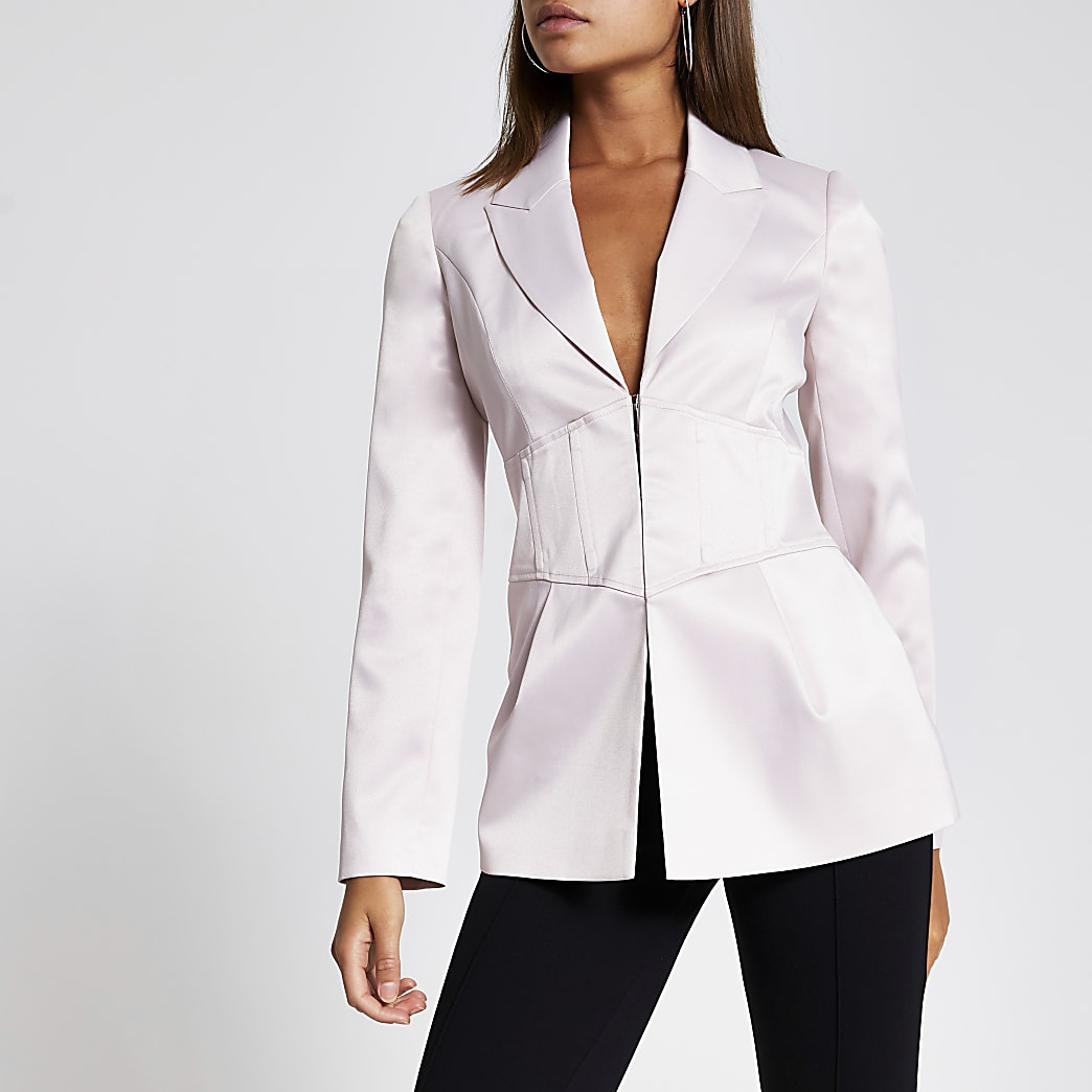 Pink corset waist long sleeve satin blazer