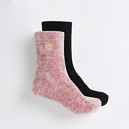Pink cosy plush socks 2 pack