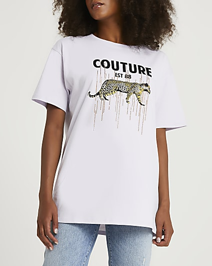 Pink 'Couture' leopard boyfriend t-shirt