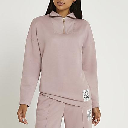 Pink couture zip neck sweatshirt