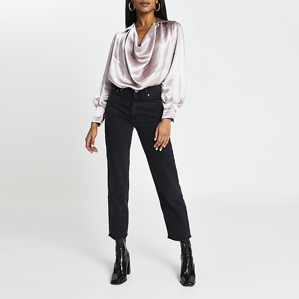 Pink cowl neck long sleeve blouse top
