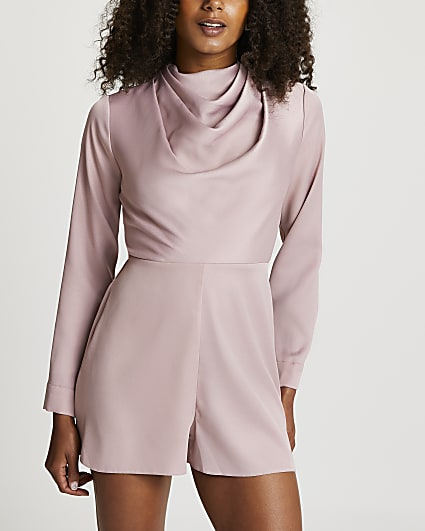 Pink cowl neck playsuit