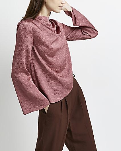 Pink cowl neck top