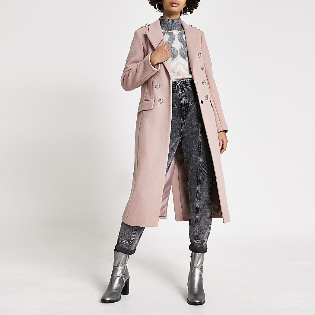 Pink crested button front longline coat